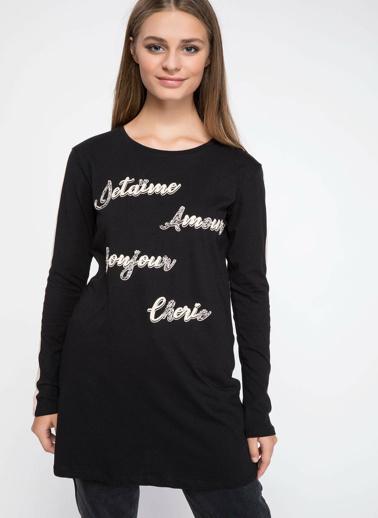 DeFacto Slogan Baskılı Uzun Kollu Tunik Siyah